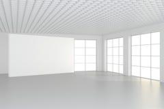 Panneau d'affichage vide horizontal dans la chambre blanche rendu 3d Image stock