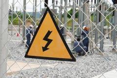 Panneau d'avertissement à haute tension Image stock