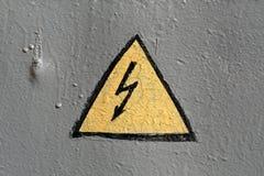 Panneau d'avertissement électrique de secours Photographie stock