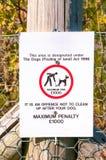 Panneau d'avertissement aucun chien encrassant la fin  Photographie stock libre de droits