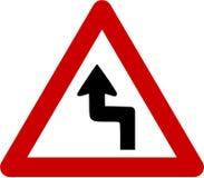 Panneau d'avertissement avec les courbes dangereuses illustration libre de droits
