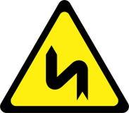 Panneau d'avertissement avec les courbes dangereuses sur la gauche illustration de vecteur