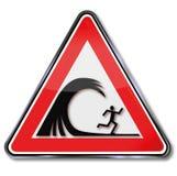 Panneau d'avertissement avec un raz de courant illustration de vecteur