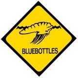 Panneau d'avertissement bleu de méduses de bouteille photos libres de droits