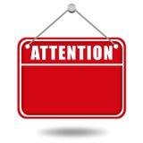 Panneau d'avertissement d'attention Photos libres de droits