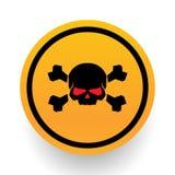Panneau d'avertissement de crâne et d'os Signe de crâne et d'os Alerte de danger Image libre de droits