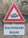 Panneau d'avertissement de croisement de blaireau du côté d'une route de campagne rurale photographie stock libre de droits