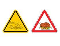 Panneau d'avertissement de dinde rôtie par attention Cr jaune de signe de dangers illustration stock