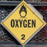 Panneau d'avertissement de l'oxygène Photo libre de droits