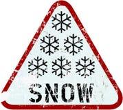 Panneau d'avertissement de neige, illustration de vecteur Photographie stock libre de droits