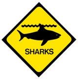 Panneau d'avertissement de requin photographie stock libre de droits