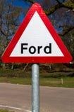 Panneau d'avertissement de route, gué Photographie stock