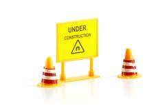 Panneau d'avertissement en construction Photos libres de droits