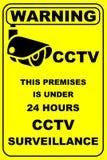 Panneau d'avertissement en fonction de télévision en circuit fermé photos stock