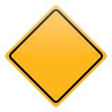Panneau d'avertissement jaune vide d'isolement Images stock