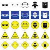 Panneau d'avertissement pour porter le vecteur d'accessoires de protection de yeux illustration de vecteur