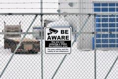 Panneau d'avertissement visuel de surveillance Photos stock