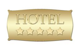 Panneau d'hôtel de cinq étoiles image stock