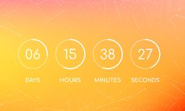Panneau d'horloge de compte à rebours pour venir bientôt page illustration stock