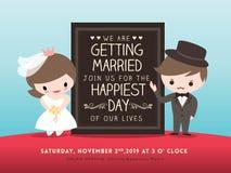 Panneau d'invitation de mariage avec la bande dessinée de marié et de jeune mariée Photo stock