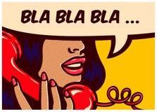Panneau de bandes dessinées de style d'art de bruit avec la fille parlant sur l'illustration de vecteur de téléphone de vintage Photographie stock libre de droits