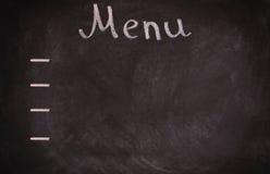 Panneau de carte de restaurant sur le tableau noir D'isolement au-dessus du fond blanc Photos libres de droits