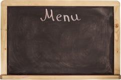 Panneau de carte de restaurant sur le tableau noir D'isolement au-dessus du fond blanc Photographie stock