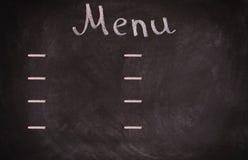 Panneau de carte de restaurant sur le tableau noir D'isolement plus de Photo libre de droits