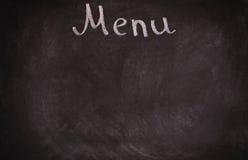 Panneau de carte de restaurant sur le tableau noir D'isolement plus de Photographie stock