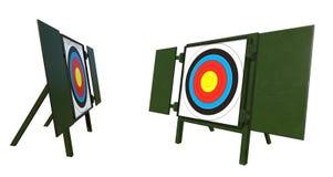 Panneau de cible à une gamme de tir à l'arc illustration libre de droits