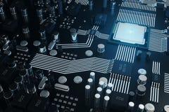 Panneau de Cicruit, intelligence artificielle, AI, concept de réseau neurologique Fond de technologie, fond de la science de tech illustration de vecteur