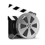 Panneau de clapet avec la bobine de film Photo stock