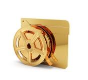 Panneau de clapet d'or avec la bobine de film Image libre de droits