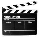 Panneau de clapet de cinéma sur le blanc images libres de droits