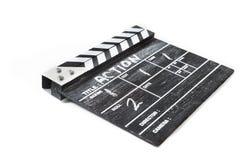 Panneau de clapet sur l'action blanche de titre de fond Photographie stock libre de droits