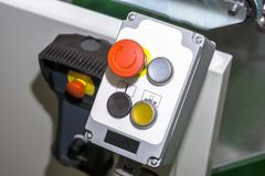 Panneau de commande avec les boutons multicolores Photo libre de droits