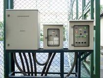 Panneau de commande de courant électrique et photo de fond Images stock