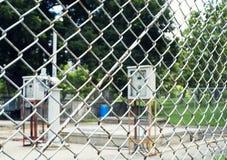 Panneau de commande de courant électrique et photo de fond Photo stock