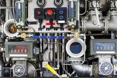 Panneau de commande de pompage de Firetruck et de valve Photos libres de droits