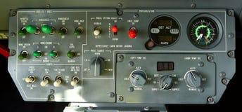 Panneau de commande de pressurisation de cabine d'aéronefs Photo stock