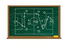 Panneau de craie avec le gisement de partie de football Photos libres de droits