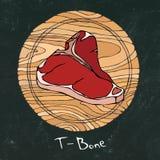 Panneau de craie noir Bifteck de les plus populaires sur une planche à découper en bois ronde Coupe de boeuf Guide de viande pour images libres de droits