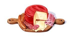 Panneau de découpage avec une sélection des fromages, salami Photos stock