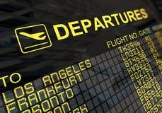 Panneau de déviations d'aéroport international Images libres de droits