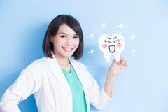 Panneau de dent de prise de dentiste de femme Image libre de droits