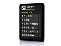 panneau de l'aéroport 3d, l'information de départs sur le fond blanc Photo stock