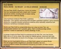 Panneau de l'information à la vieille grange, musée de Talana, Dundee image libre de droits