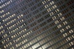 Panneau de l'information de vols Photos libres de droits