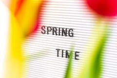 """Panneau de lettre avec l'inscription """"printemps """"et fleurs dans le premier plan images libres de droits"""