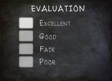 Panneau de liste de contrôle d'évaluation Photo stock